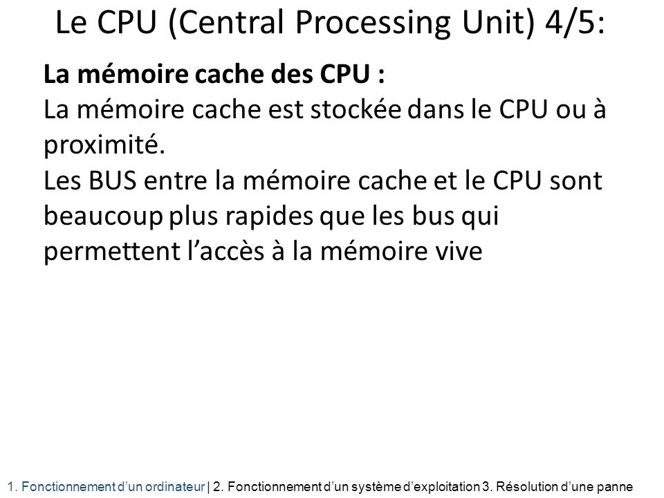 Le CPU (Central Processing Unit) 4/5: