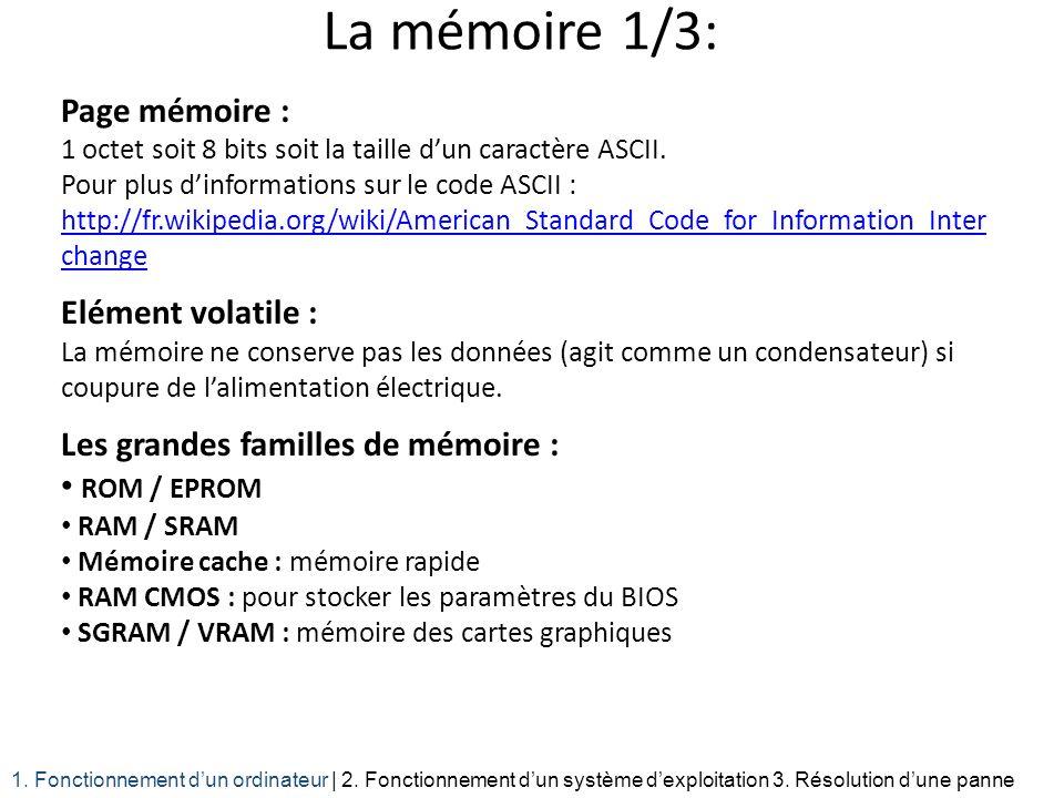 La mémoire 1/3: Page mémoire : 1 octet soit 8 bits soit la taille d'un caractère ASCII.