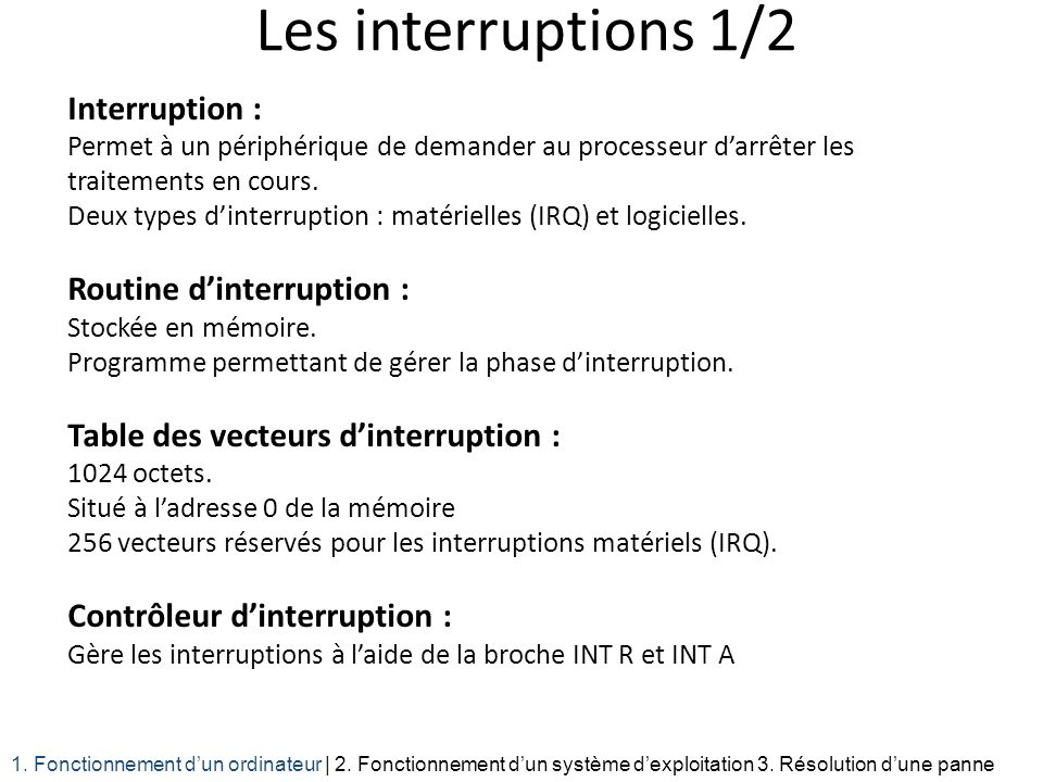 Les interruptions 1/2 Interruption : Routine d'interruption :