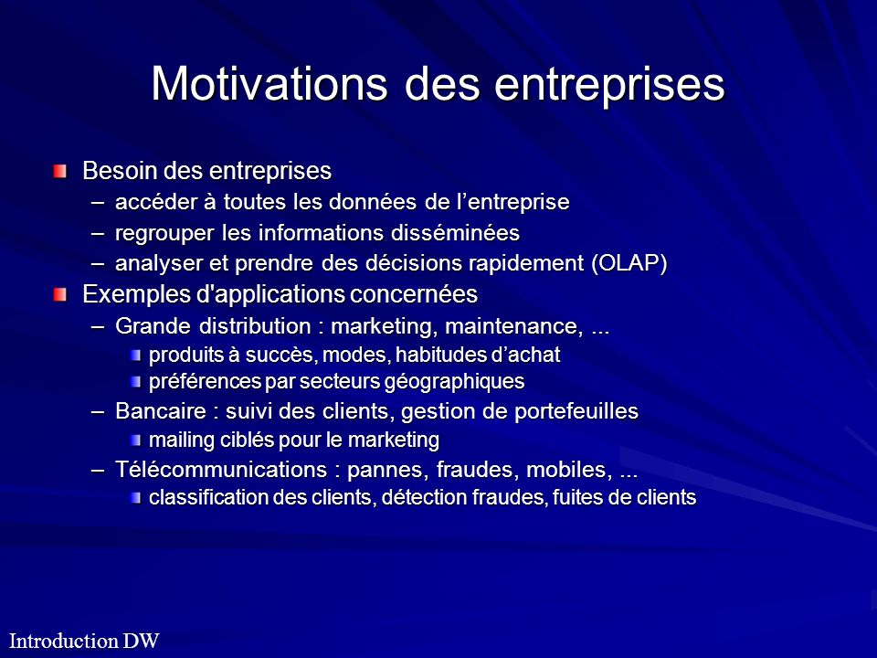 Motivations des entreprises