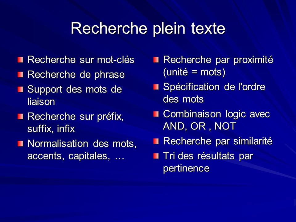 Recherche plein texte Recherche sur mot-clés Recherche de phrase