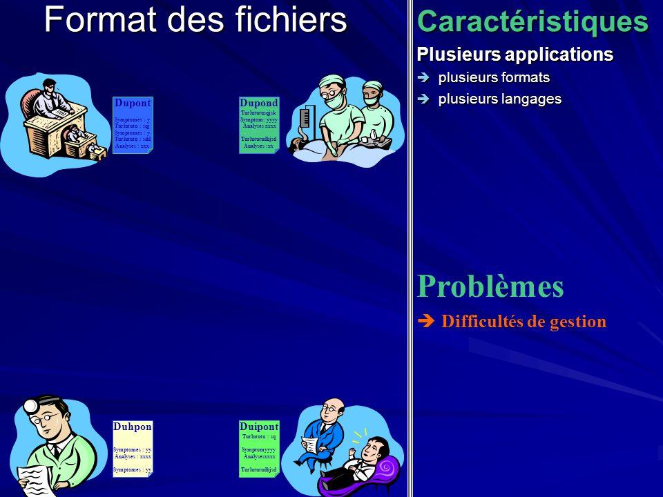 Format des fichiers Problèmes Caractéristiques Plusieurs applications