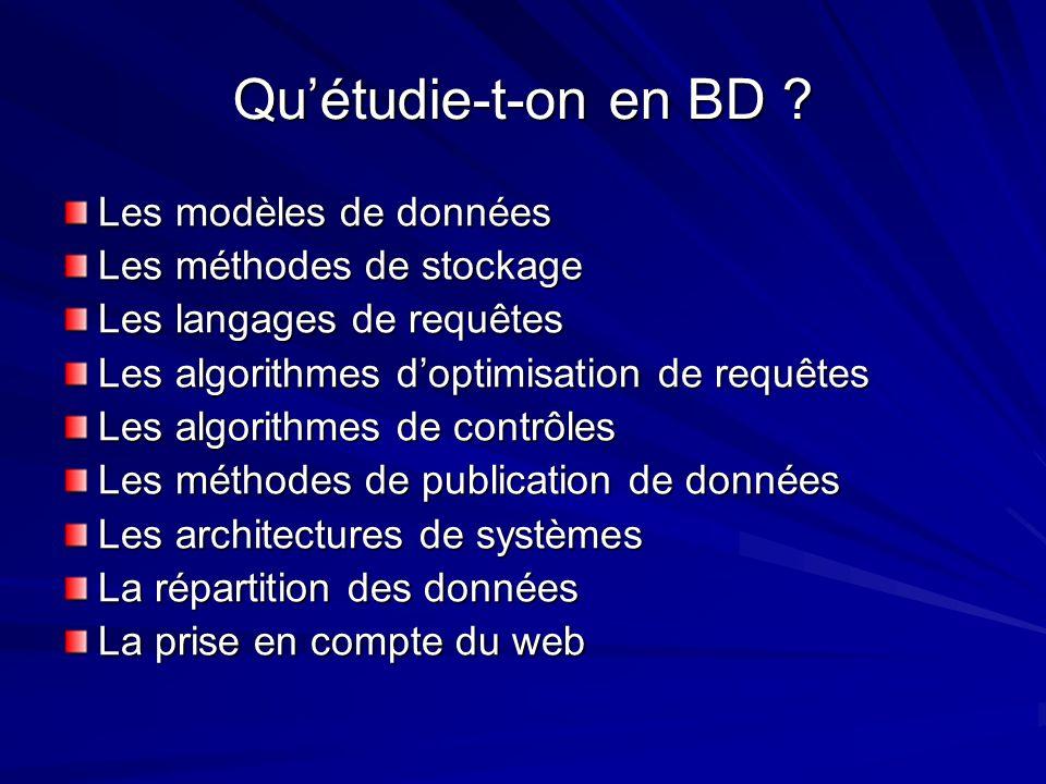 Qu'étudie-t-on en BD Les modèles de données Les méthodes de stockage