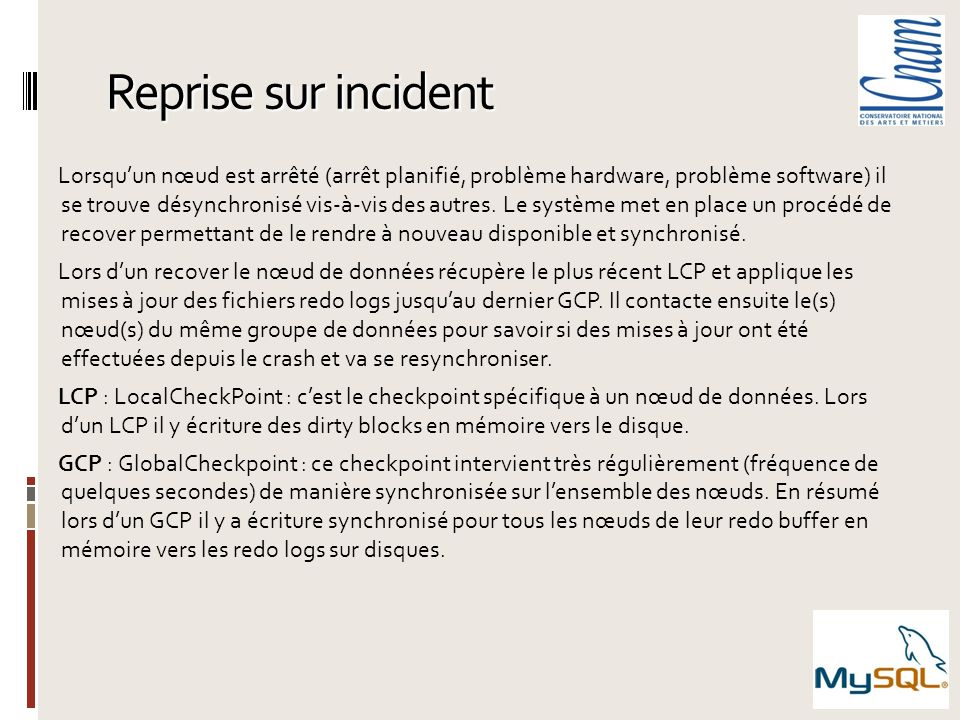 Reprise sur incident