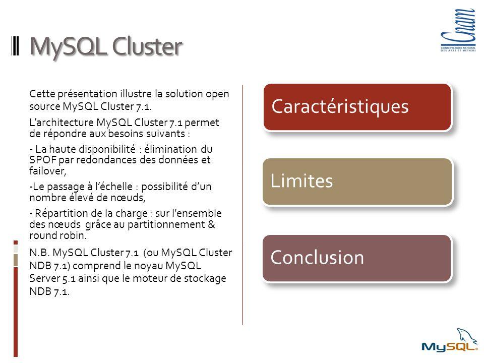 MySQL Cluster Caractéristiques. Limites. Conclusion. Cette présentation illustre la solution open source MySQL Cluster 7.1.