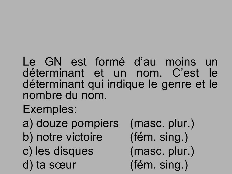 Le GN est formé d'au moins un déterminant et un nom