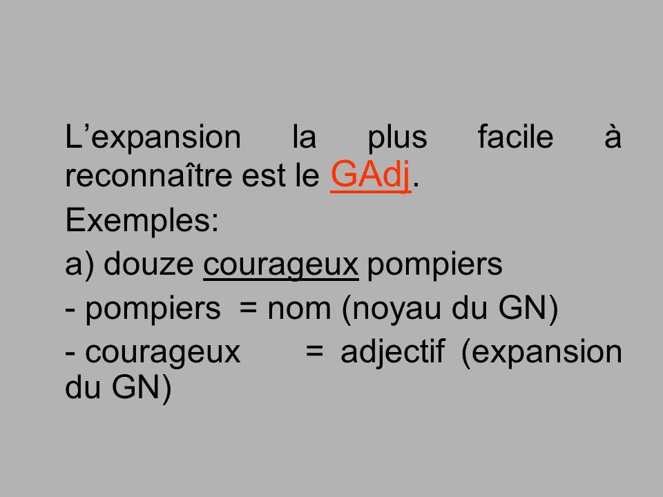 L'expansion la plus facile à reconnaître est le GAdj.