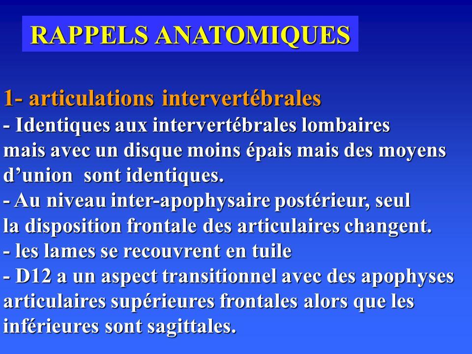 RAPPELS ANATOMIQUES 1- articulations intervertébrales