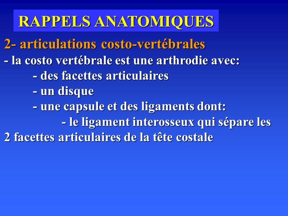 RAPPELS ANATOMIQUES 2- articulations costo-vertébrales - la costo vertébrale est une arthrodie avec:
