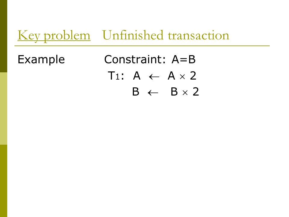 Key problem Unfinished transaction
