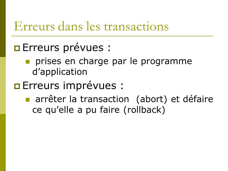 Erreurs dans les transactions