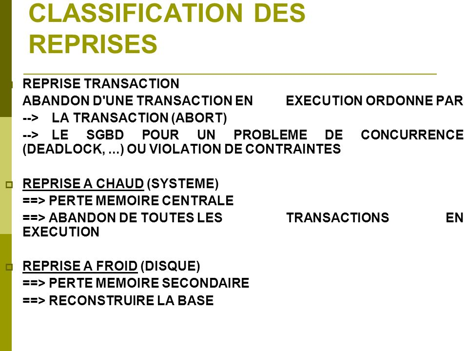CLASSIFICATION DES REPRISES