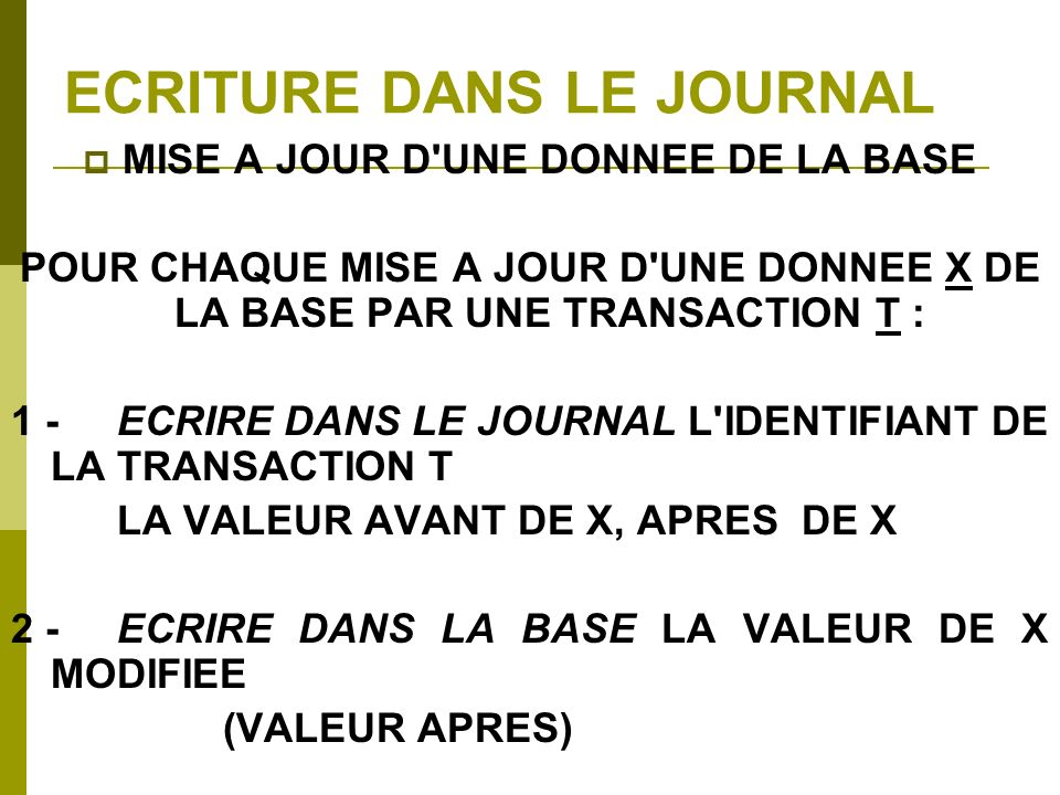 ECRITURE DANS LE JOURNAL