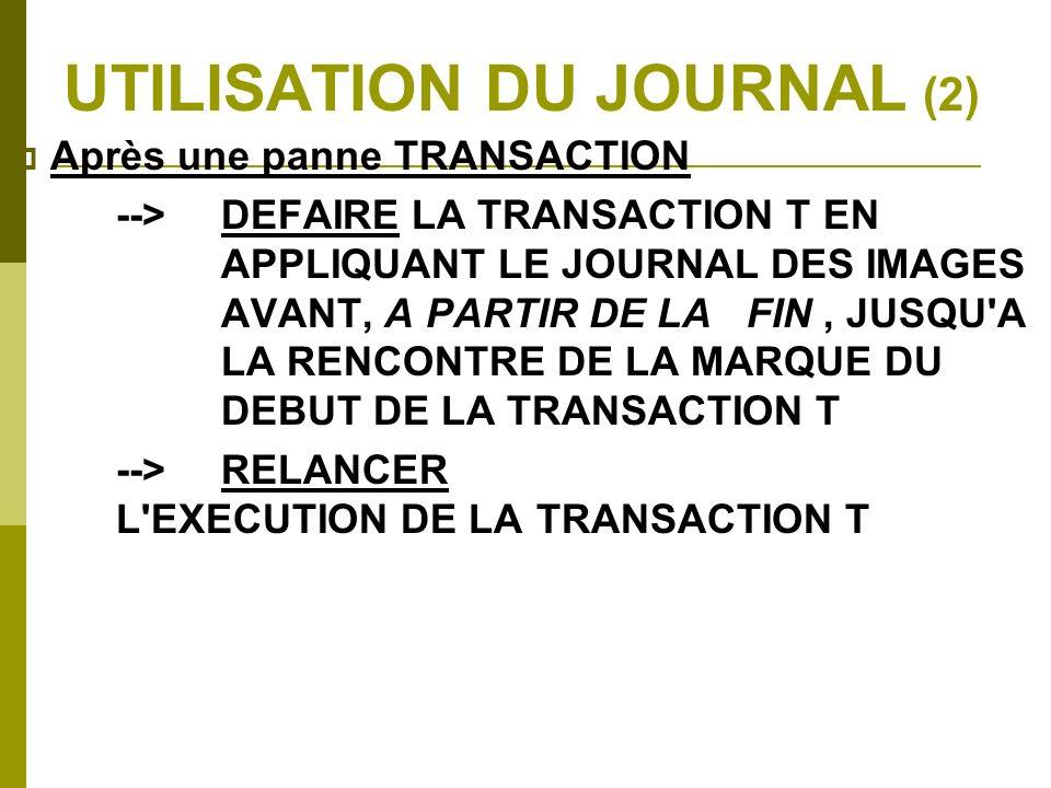 UTILISATION DU JOURNAL (2)