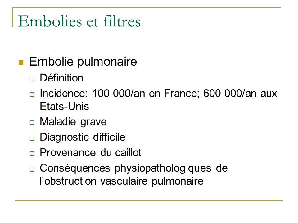Embolies et filtres Embolie pulmonaire Définition