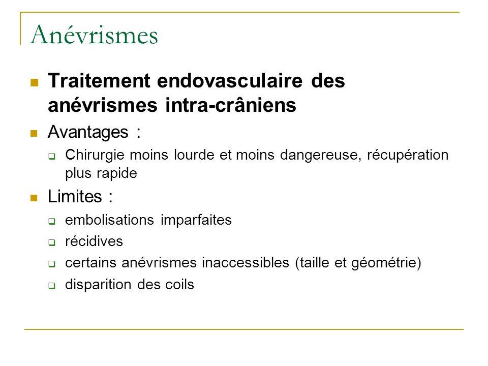 Anévrismes Traitement endovasculaire des anévrismes intra-crâniens
