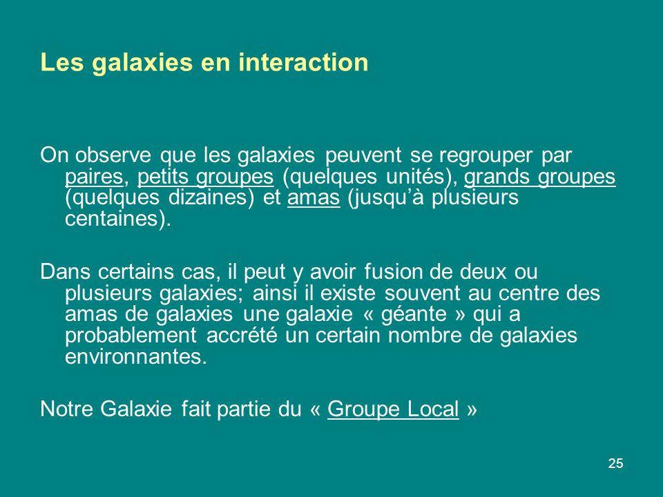 Les galaxies en interaction