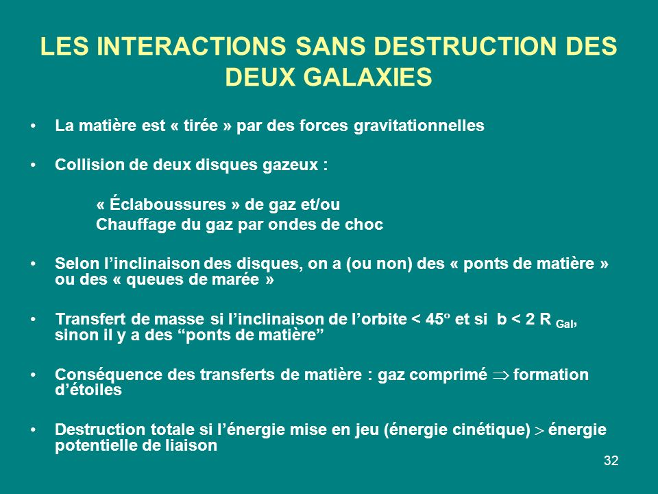 LES INTERACTIONS SANS DESTRUCTION DES DEUX GALAXIES