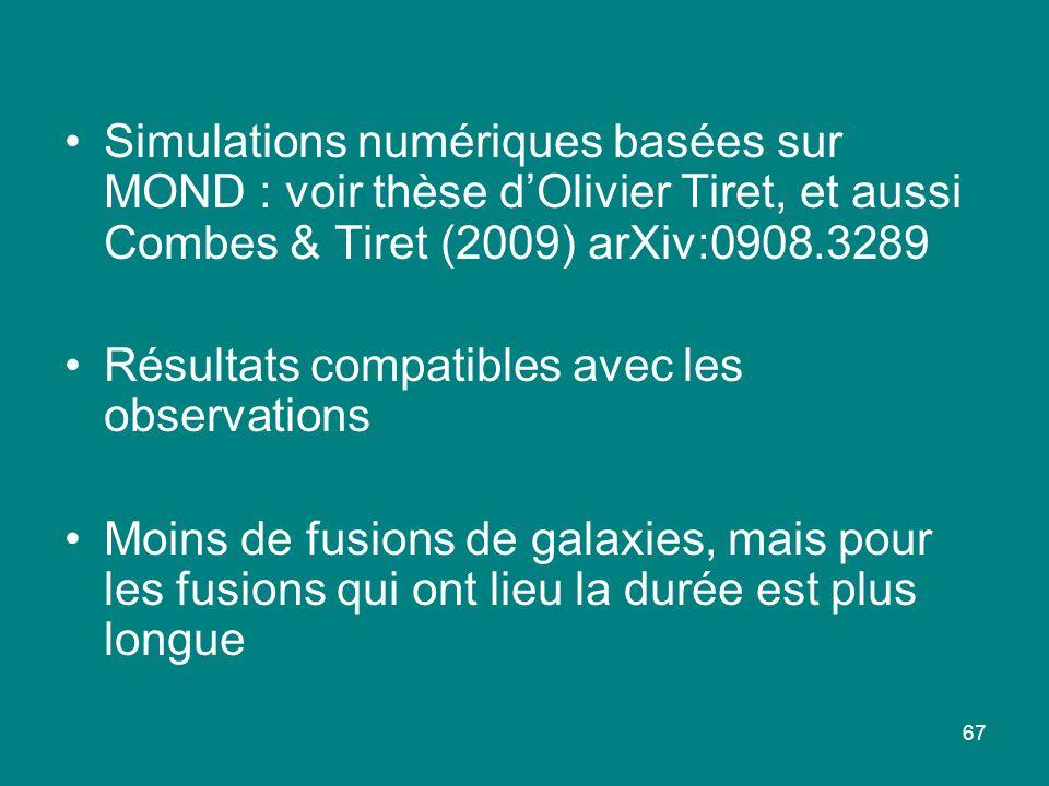 Simulations numériques basées sur MOND : voir thèse d'Olivier Tiret, et aussi Combes & Tiret (2009) arXiv:0908.3289