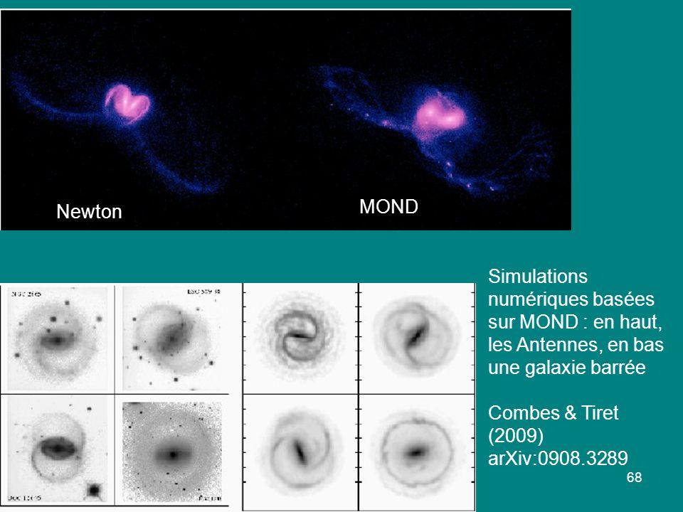 MOND Newton. Simulations numériques basées sur MOND : en haut, les Antennes, en bas une galaxie barrée.
