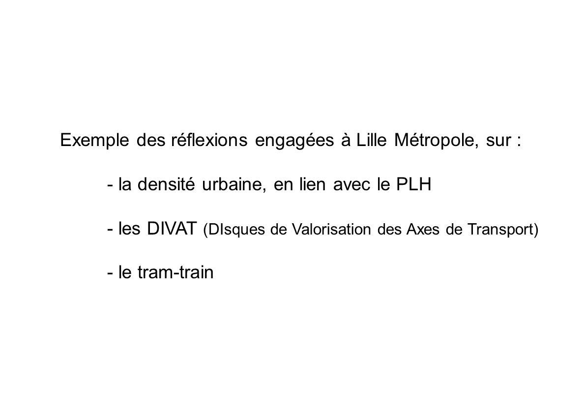 Exemple des réflexions engagées à Lille Métropole, sur :