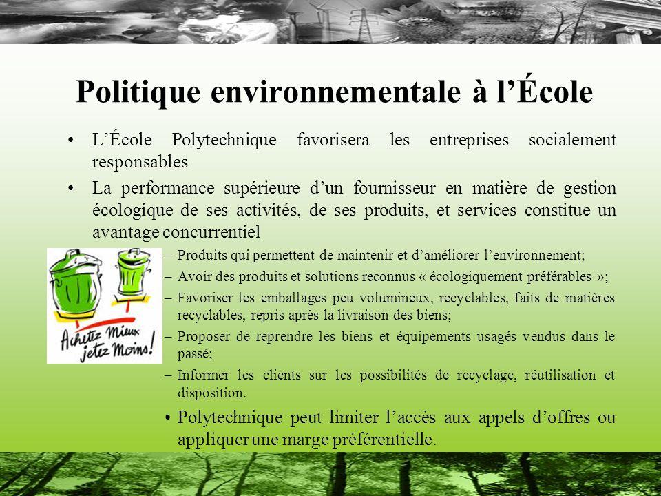 Politique environnementale à l'École