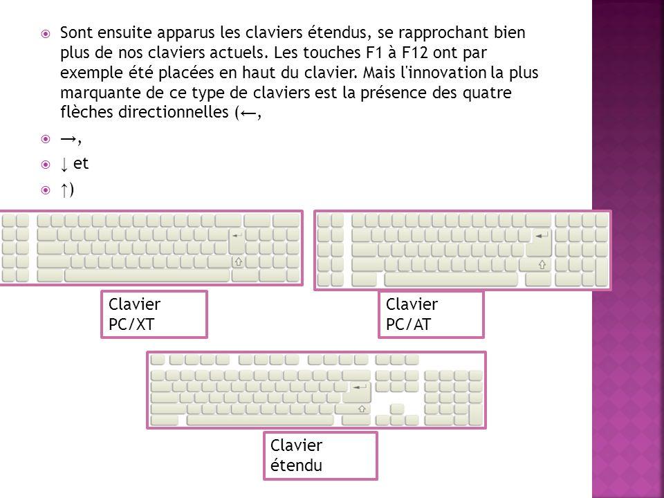 Sont ensuite apparus les claviers étendus, se rapprochant bien plus de nos claviers actuels. Les touches F1 à F12 ont par exemple été placées en haut du clavier. Mais l innovation la plus marquante de ce type de claviers est la présence des quatre flèches directionnelles (←,