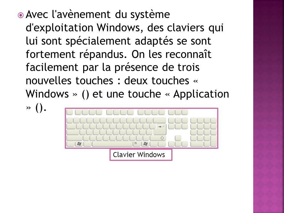 Avec l avènement du système d exploitation Windows, des claviers qui lui sont spécialement adaptés se sont fortement répandus. On les reconnaît facilement par la présence de trois nouvelles touches : deux touches « Windows » () et une touche « Application » ().