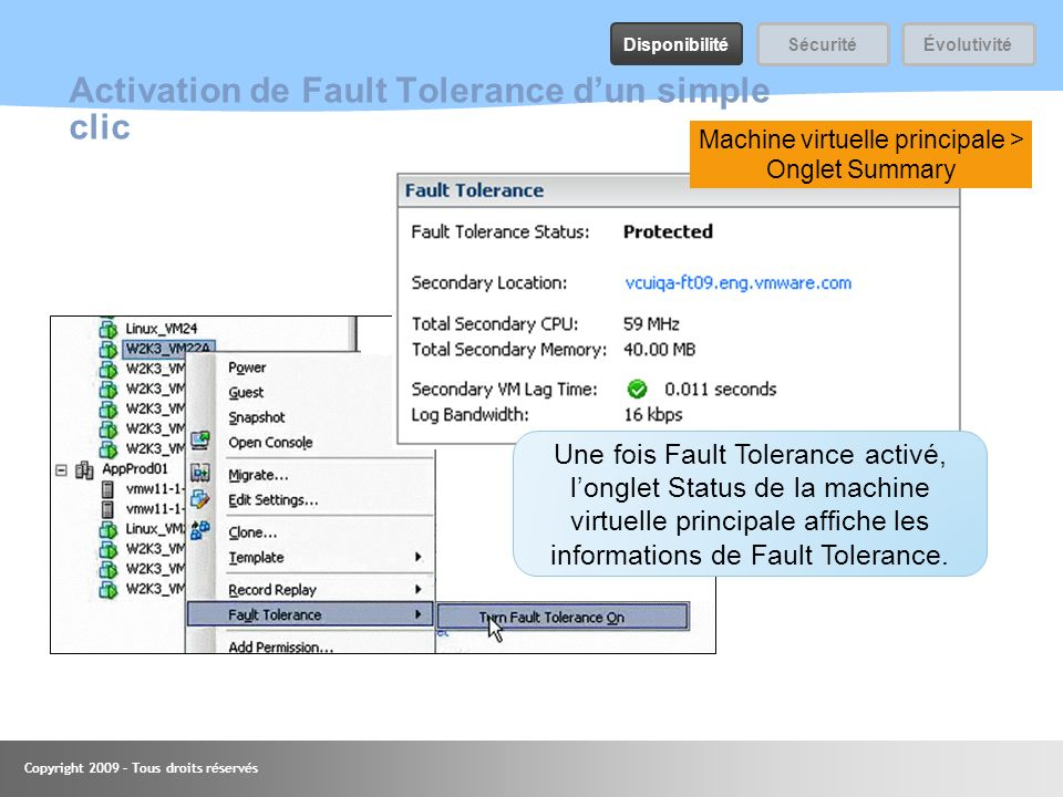 Activation de Fault Tolerance d'un simple clic