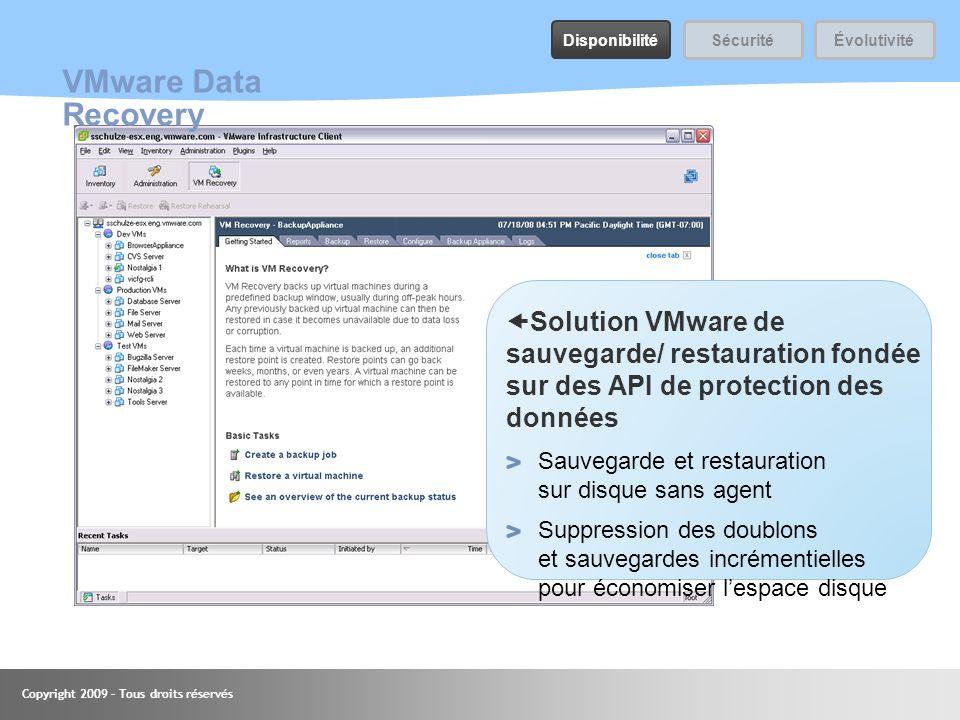 Disponibilité Sécurité. Évolutivité. VMware Data Recovery.