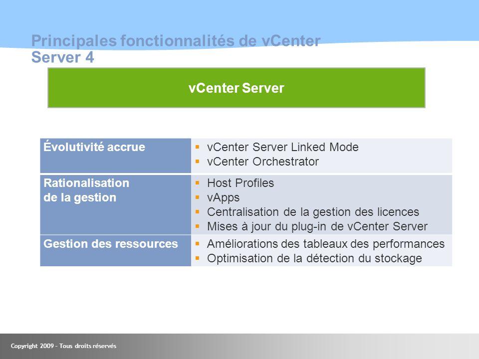 Principales fonctionnalités de vCenter Server 4