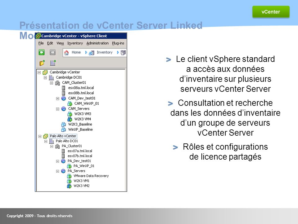 Présentation de vCenter Server Linked Mode