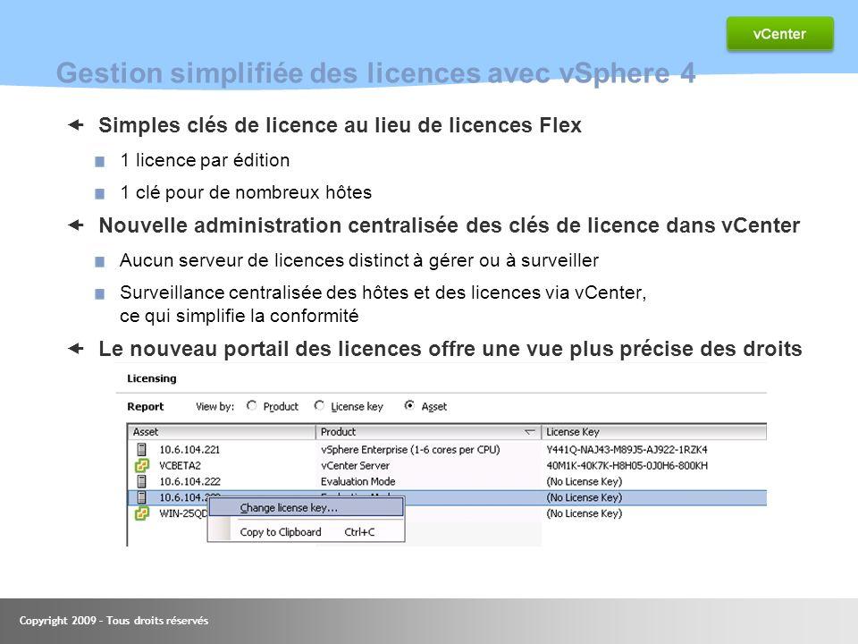 Gestion simplifiée des licences avec vSphere 4