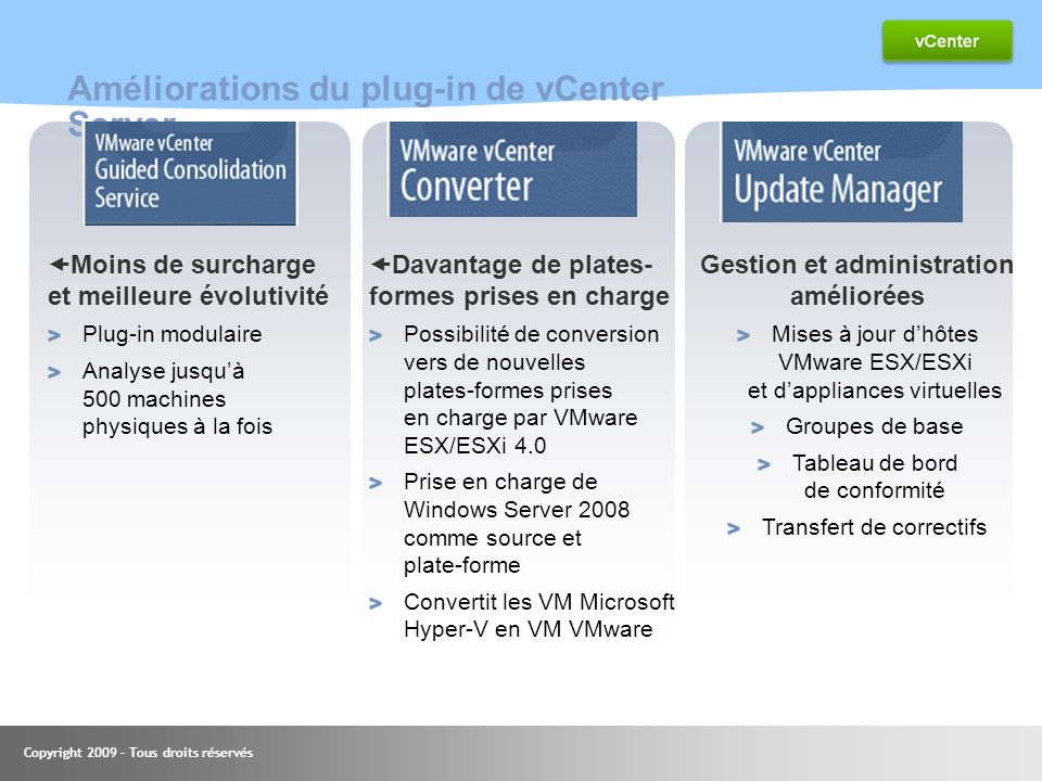 Améliorations du plug-in de vCenter Server