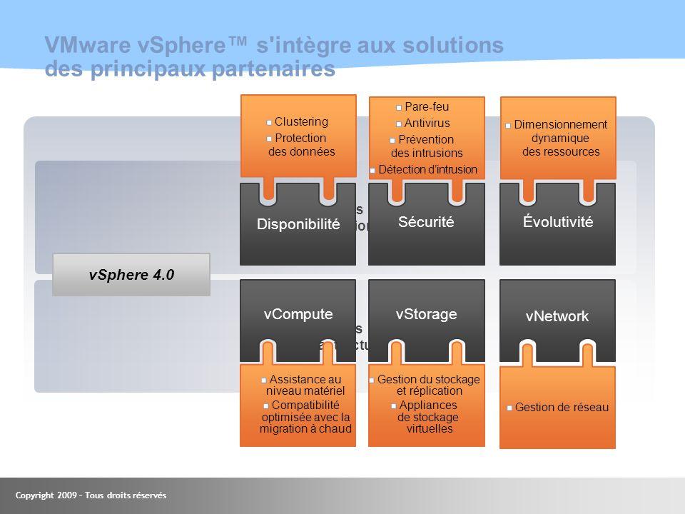 VMware vSphere™ s intègre aux solutions des principaux partenaires