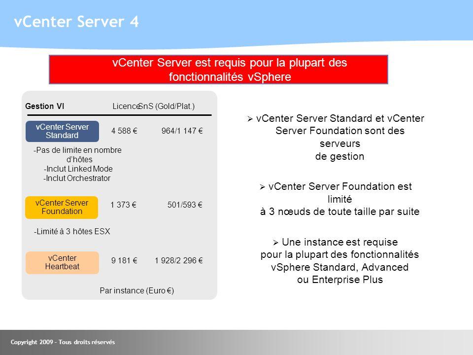 30.03.2017 vCenter Server 4. vCenter Server est requis pour la plupart des fonctionnalités vSphere.