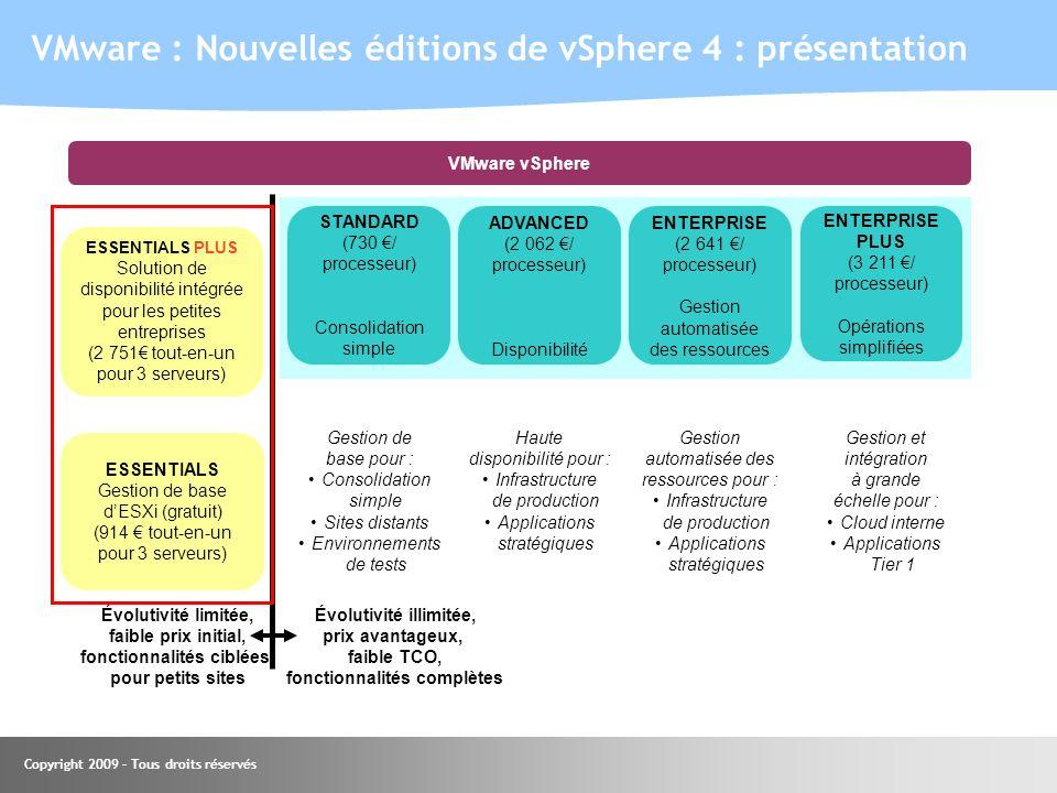 VMware : Nouvelles éditions de vSphere 4 : présentation