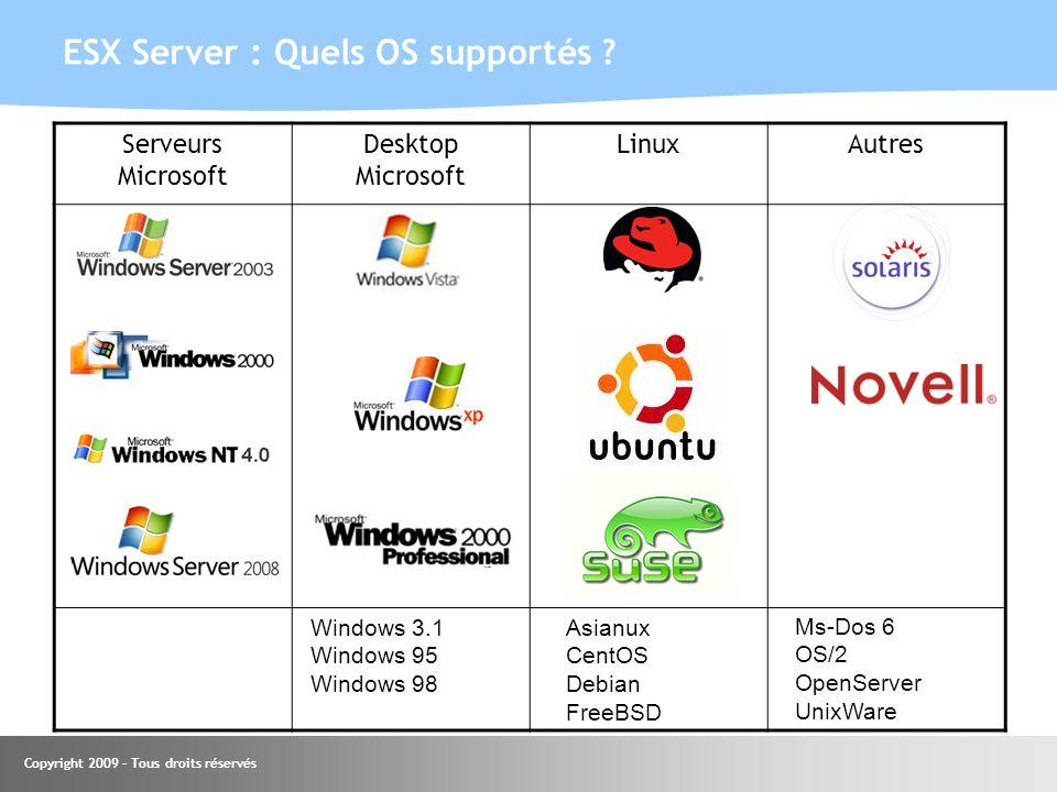 ESX Server : Quels OS supportés