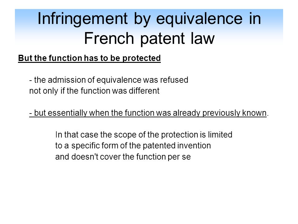 Infringement by equivalence in French patent law