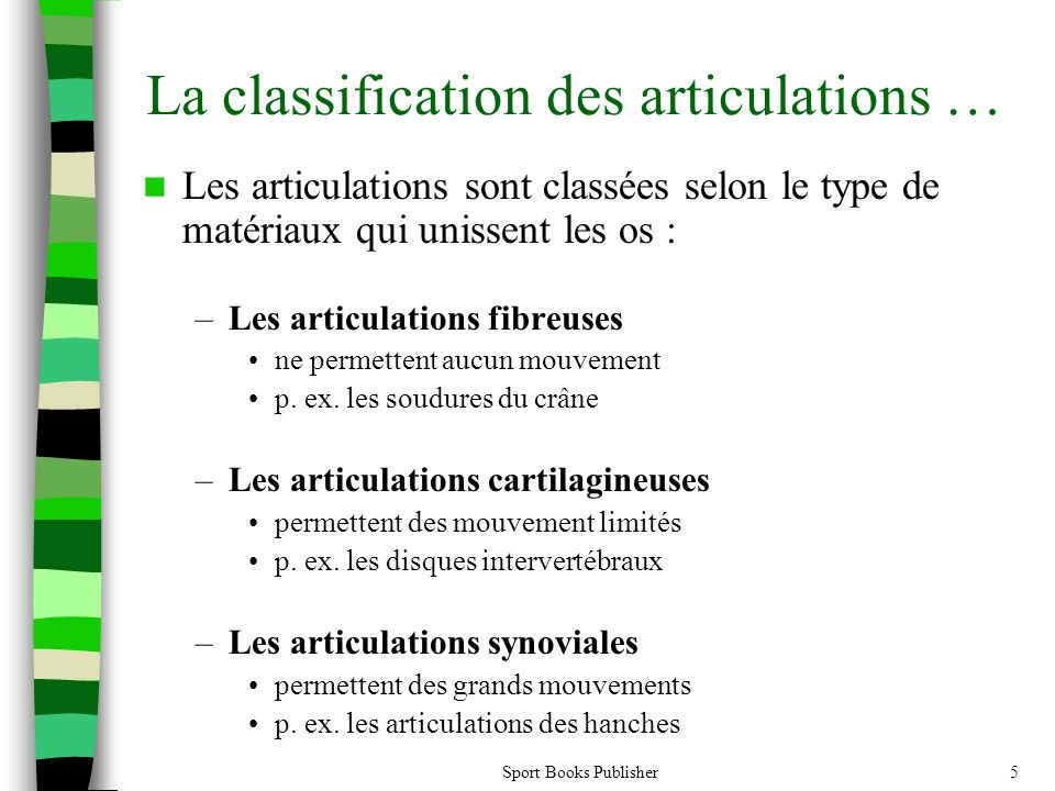 La classification des articulations …