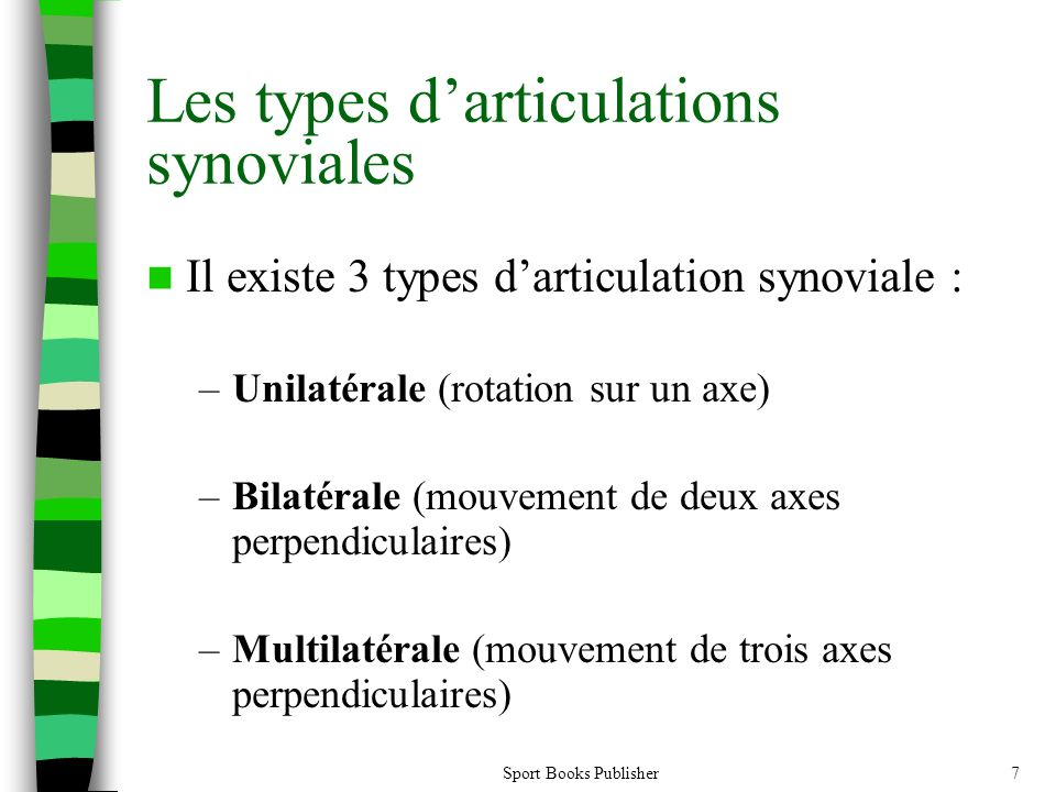 Les types d'articulations synoviales