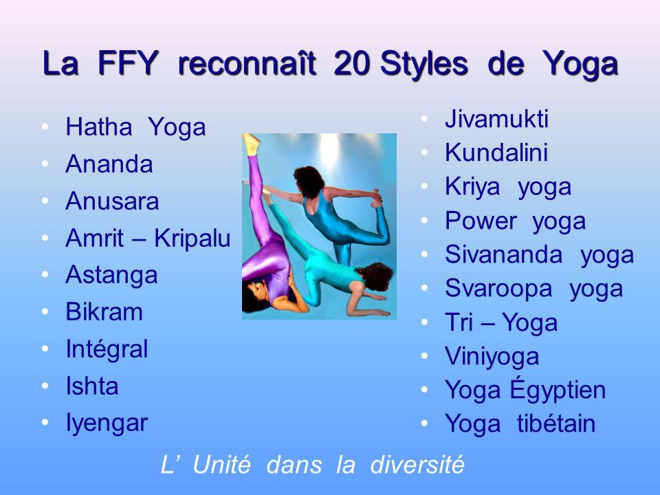 La FFY reconnaît 20 Styles de Yoga