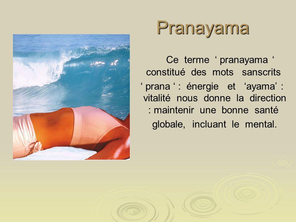 Pranayama Ce terme ' pranayama ' constitué des mots sanscrits