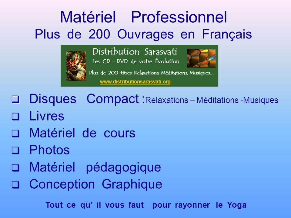 Matériel Professionnel Plus de 200 Ouvrages en Français