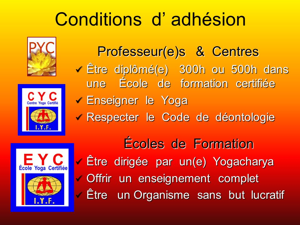 Conditions d' adhésion