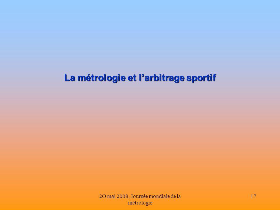 La métrologie et l'arbitrage sportif