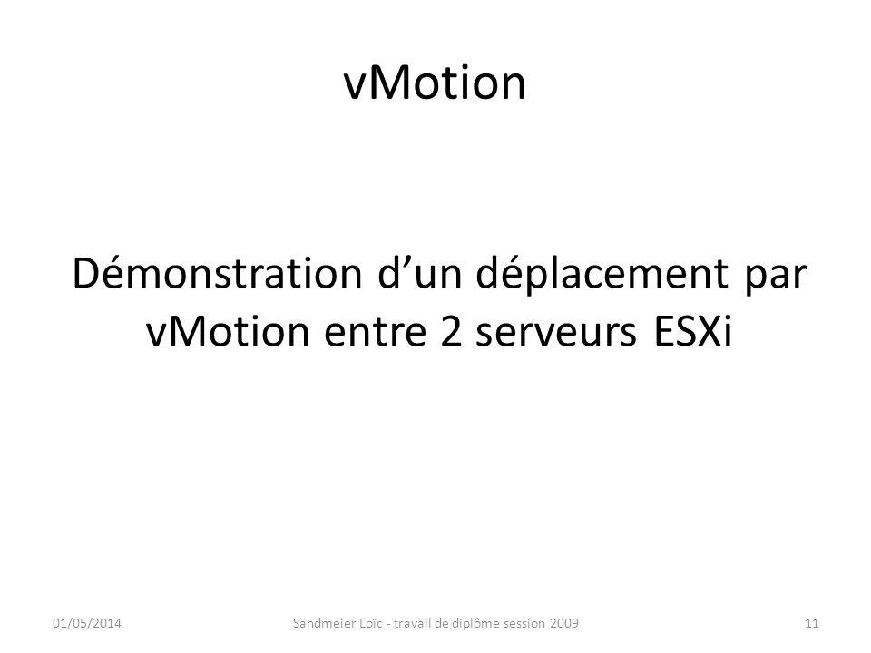 vMotion Démonstration d'un déplacement par vMotion entre 2 serveurs ESXi.