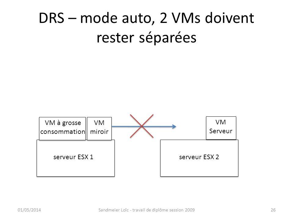 DRS – mode auto, 2 VMs doivent rester séparées