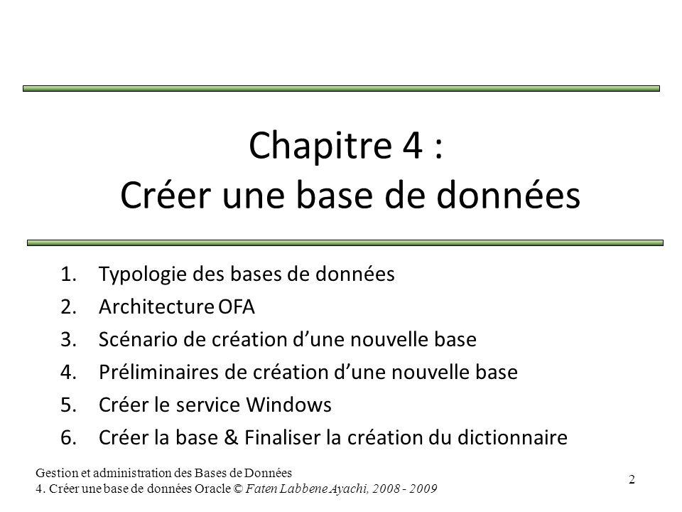 Chapitre 4 : Créer une base de données
