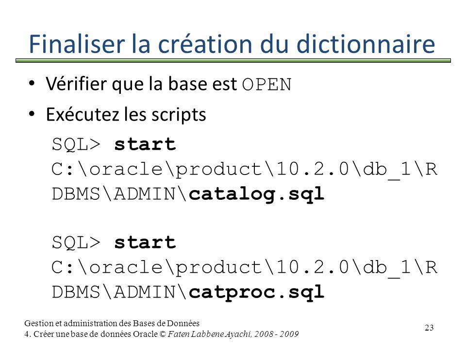 Finaliser la création du dictionnaire